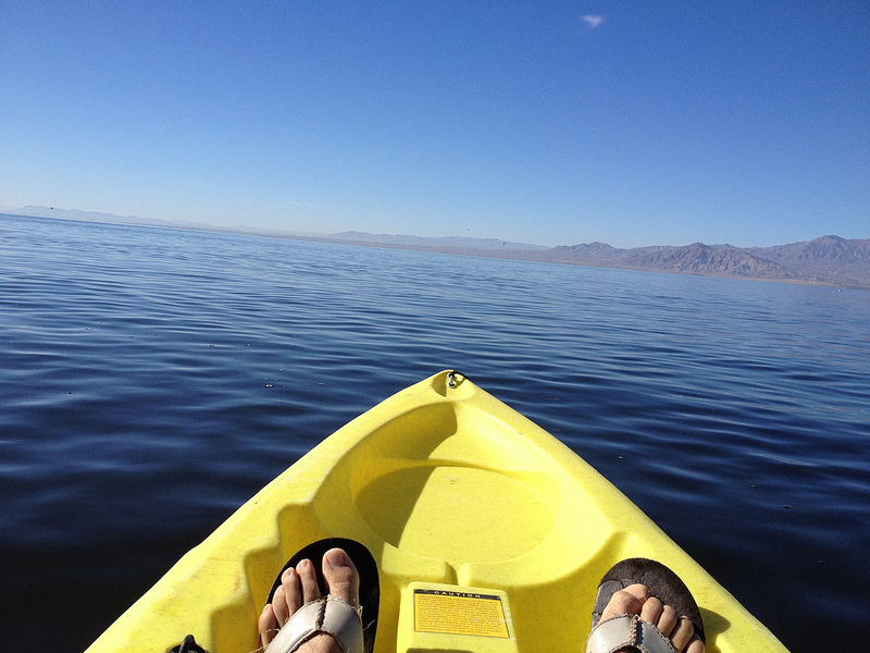Reporter Ivan Delgado joined Assemblymember V. Manuel Perez on a kayaking expedition along the Salton Sea. Somehow, he managed to put the paddles down and take photographs without flipping over. Photo: IVAN DELGADO/Coachella Unincorporated